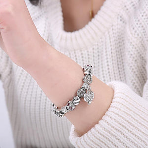 "925 Sterling Silver ""Charmed Heart"" Womens Bracelet - Blown Biker - 3"