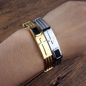 "Premium Gold Stainless Steel ""Cross"" Bracelet - Blown Biker - 3"