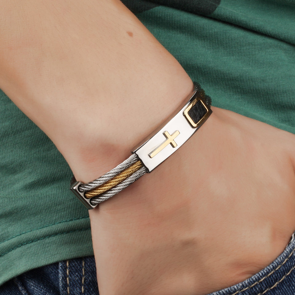 "Premium Gold Stainless Steel ""Cross"" Bracelet - Blown Biker - 1"