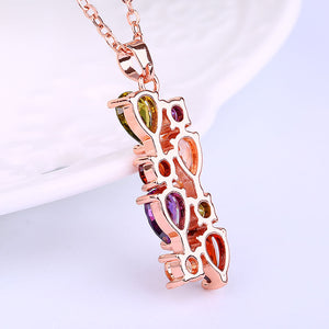 "Rose Gold ""Zircon Flowers"" Necklace - Blown Biker - 5"