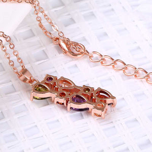 "Rose Gold ""Zircon Flowers"" Necklace - Blown Biker - 4"