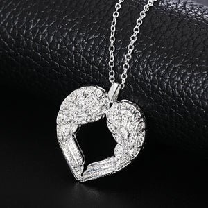 "Silver Plated ""Angel Wings Heart"" Pendant Necklace"