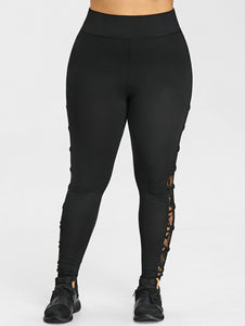 Womens Leggings with Lace Leg Panels