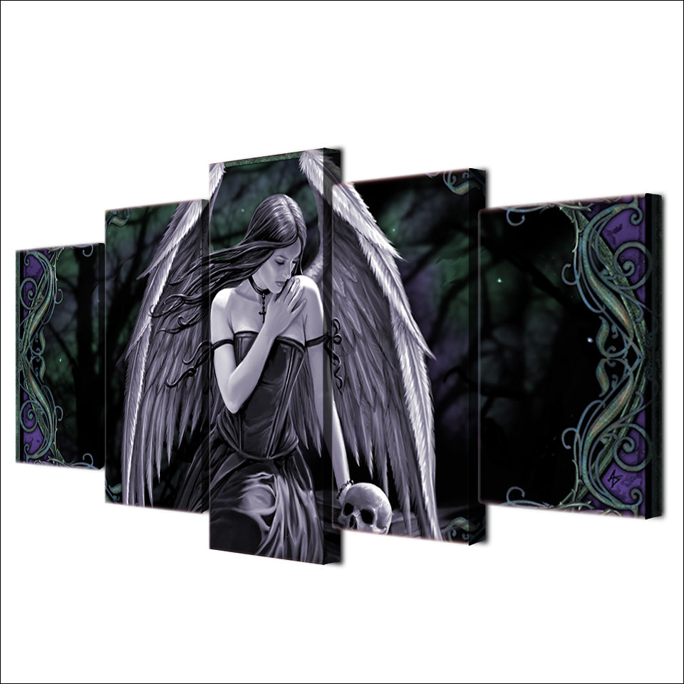 "5 Piece ""Angel Wings"" Printed Wall Canvas Set - Blown Biker - 3"