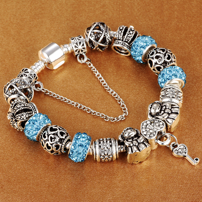 "925 Sterling Silver Plated ""Crown Beads"" Charm Bracelet - Blown Biker - 1"