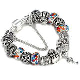 "925 Sterling Silver Plated ""Crown Beads"" Charm Bracelet - Blown Biker - 4"