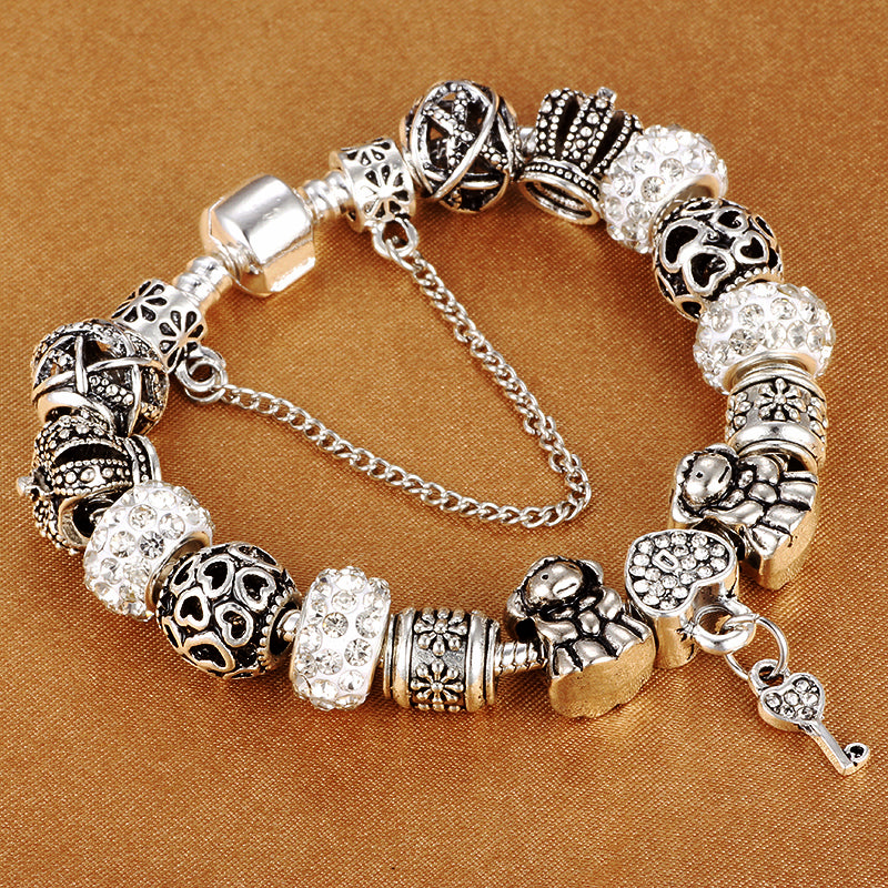 "925 Sterling Silver Plated ""Crown Beads"" Charm Bracelet - Blown Biker - 2"