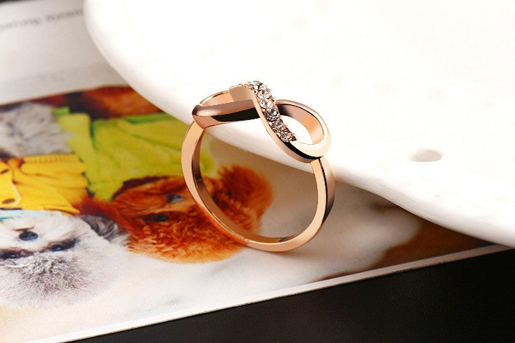 "Rose Gold Plated ""Infinity Crystals"" Ring - Blown Biker - 5"