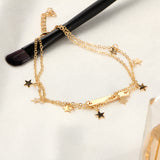 "Gold/Silver Plated ""Stars And Bars"" Anklet - Blown Biker - 5"