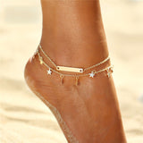 "Gold/Silver Plated ""Stars And Bars"" Anklet - Blown Biker - 2"