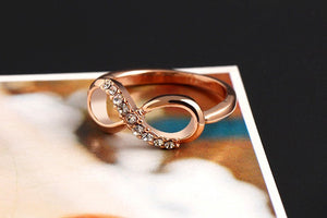 "Rose Gold Plated ""Infinity Crystals"" Ring - Blown Biker - 7"