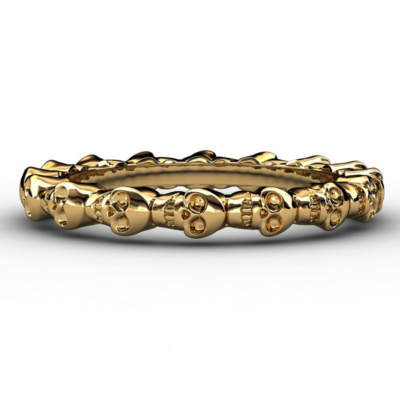 "Gold Plated 316L Stainless Steel ""Skull Row"" Womens Ring - Blown Biker - 3"