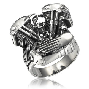 "316L Stainless Steel ""Bike Engine"" Ring - Blown Biker - 1"