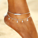 "Gold/Silver Plated ""Stars And Bars"" Anklet - Blown Biker - 1"