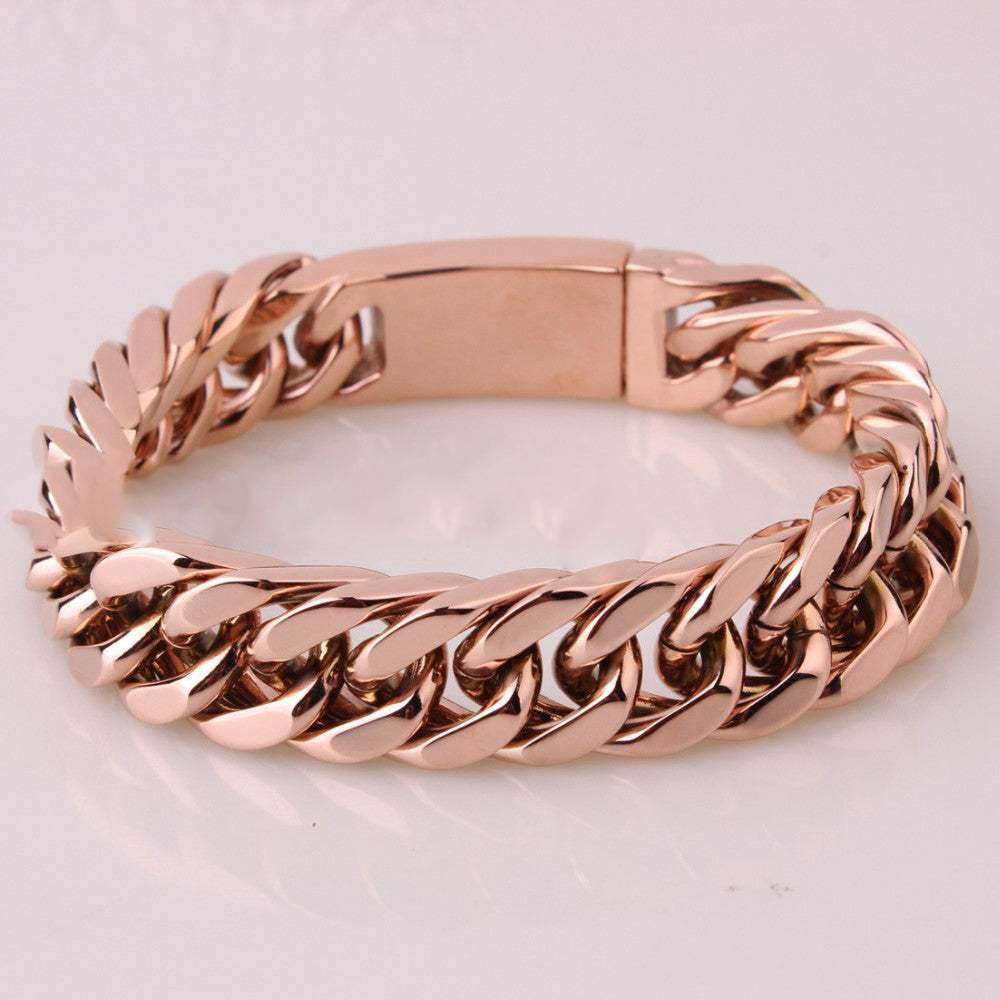 Rose Gold Cuban Link Biker Bracelet Blown Biker