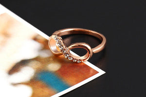 "Rose Gold Plated ""Infinity Crystals"" Ring - Blown Biker - 6"