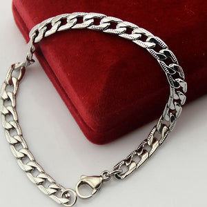 "316L Stainless Steel ""Flat Curb"" Necklace/Bracelet Jewelry Set - Blown Biker - 3"
