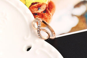 "Rose Gold Plated ""Infinity Crystals"" Ring - Blown Biker - 4"