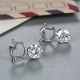 "Silver ""Rhinestone Heart"" Earrings - Blown Biker - 4"