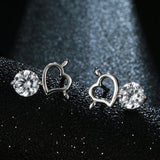 "Silver ""Rhinestone Heart"" Earrings - Blown Biker - 5"