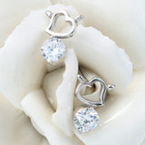 "Silver ""Rhinestone Heart"" Earrings - Blown Biker - 2"