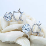 "Silver ""Rhinestone Heart"" Earrings - Blown Biker - 3"