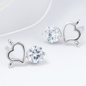 "Silver ""Rhinestone Heart"" Earrings - Blown Biker - 6"