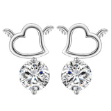 "Silver ""Rhinestone Heart"" Earrings - Blown Biker - 1"