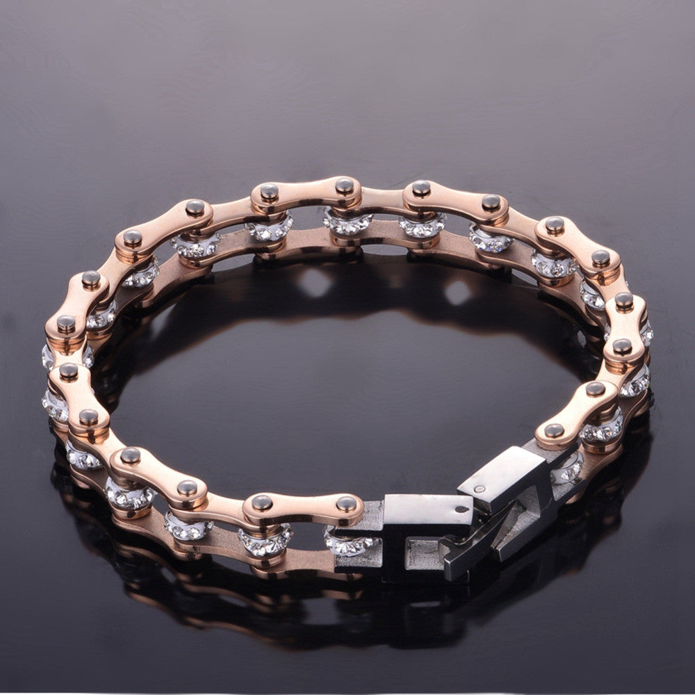 18K Rose Gold Plated Crystal Biker Bracelet Blown Biker