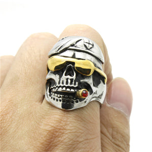 "316L Stainless Steel ""Sunglass Smoking Skull"" Ring"