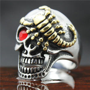 "316L Stainless Steel ""Golden Scorpion Skull"" Ring"