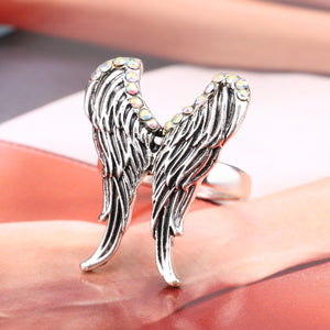 "Silver AB ""Angel Wings"" Crystal Ring - Blown Biker - 3"