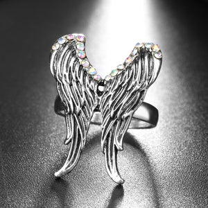 "Silver AB ""Angel Wings"" Crystal Ring - Blown Biker - 2"