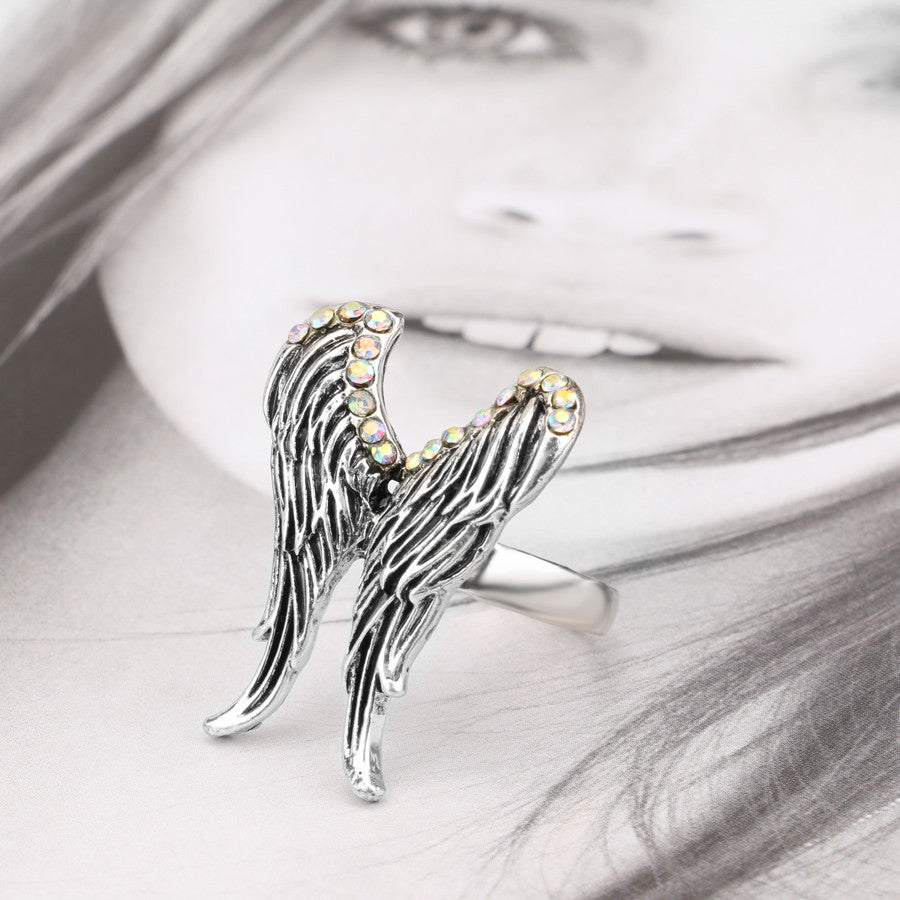 "Silver AB ""Angel Wings"" Crystal Ring - Blown Biker - 5"
