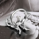 "Silver AB ""Angel Wings"" Crystal Ring - Blown Biker - 6"