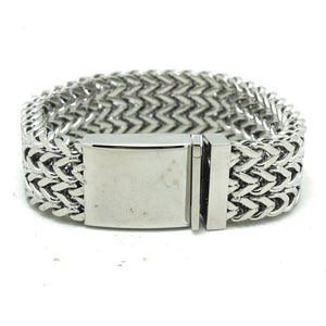 "316L Stainless Steel ""Thick Mesh"" Bracelet - Blown Biker - 4"