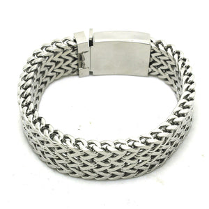 "316L Stainless Steel ""Thick Mesh"" Bracelet - Blown Biker - 3"