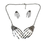 "Vintage Silver ""Bone Claw"" Necklace/Earrings Jewelry Set - Blown Biker - 3"