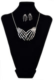 "Vintage Silver ""Bone Claw"" Necklace/Earrings Jewelry Set - Blown Biker - 1"