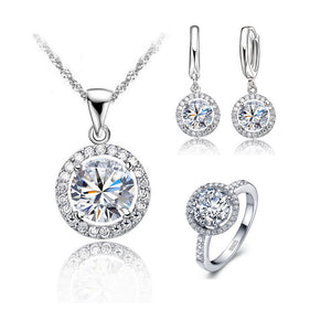 "925 Sterling Silver ""Zircon Crystal"" 3 Piece Jewelry Set"