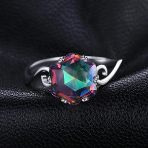 "925 Sterling Silver ""Rainbow Fire"" Gemstone Womens Ring - Blown Biker - 2"