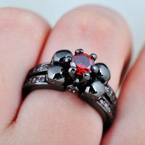 "316L Stainless Steel ""Black Ruby"" Womens Ring - Blown Biker - 4"