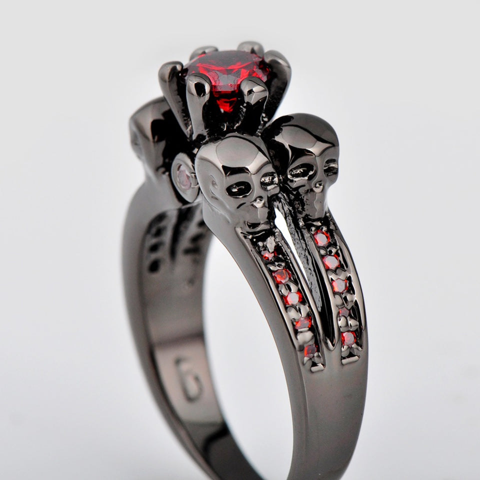 "316L Stainless Steel ""Black Ruby"" Womens Ring - Blown Biker - 3"