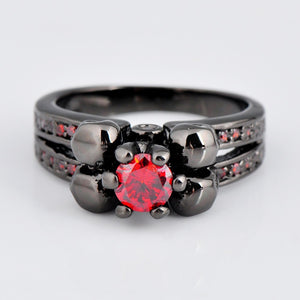 "316L Stainless Steel ""Black Ruby"" Womens Ring - Blown Biker - 2"