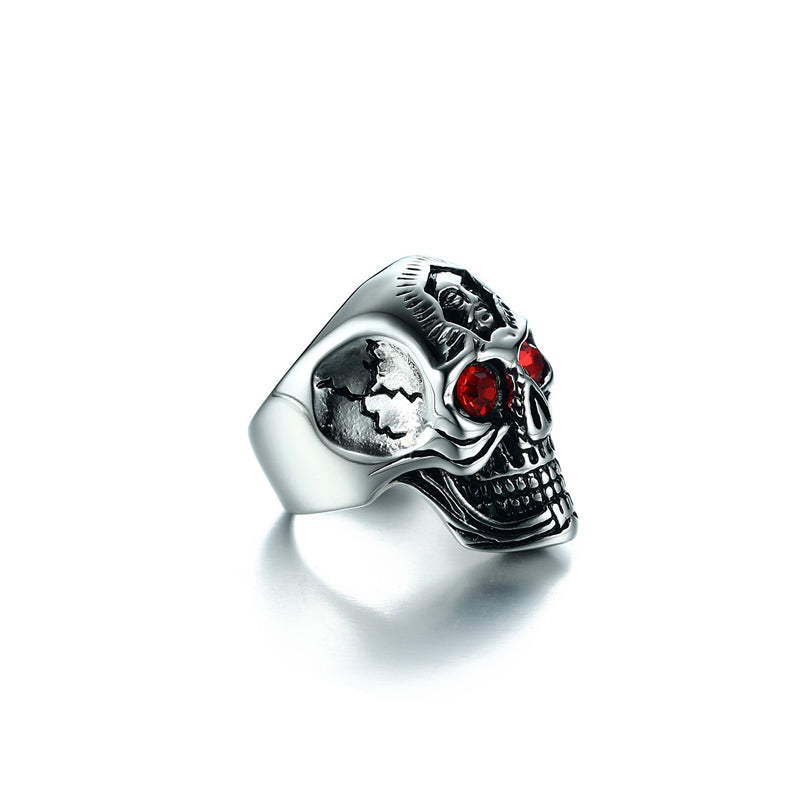 "316L Stainless Steel ""Red Eyed Skull"" Ring - Blown Biker - 2"