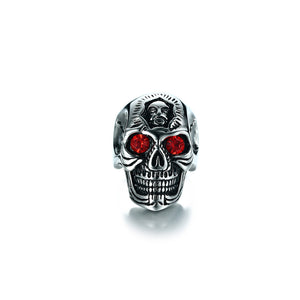 "316L Stainless Steel ""Red Eyed Skull"" Ring - Blown Biker - 3"