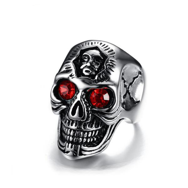 "316L Stainless Steel ""Red Eyed Skull"" Ring - Blown Biker - 1"