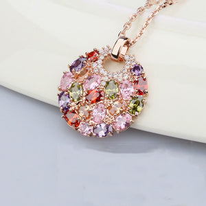"Rose Gold ""Big Round Zirconia"" Necklace"