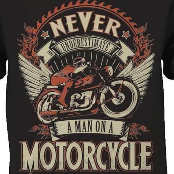 Man On A Motorcycle T-Shirt - Blown Biker - 1