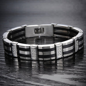 "316L Stainless Steel ""Silicone Ribbons"" Bracelet - Blown Biker - 3"